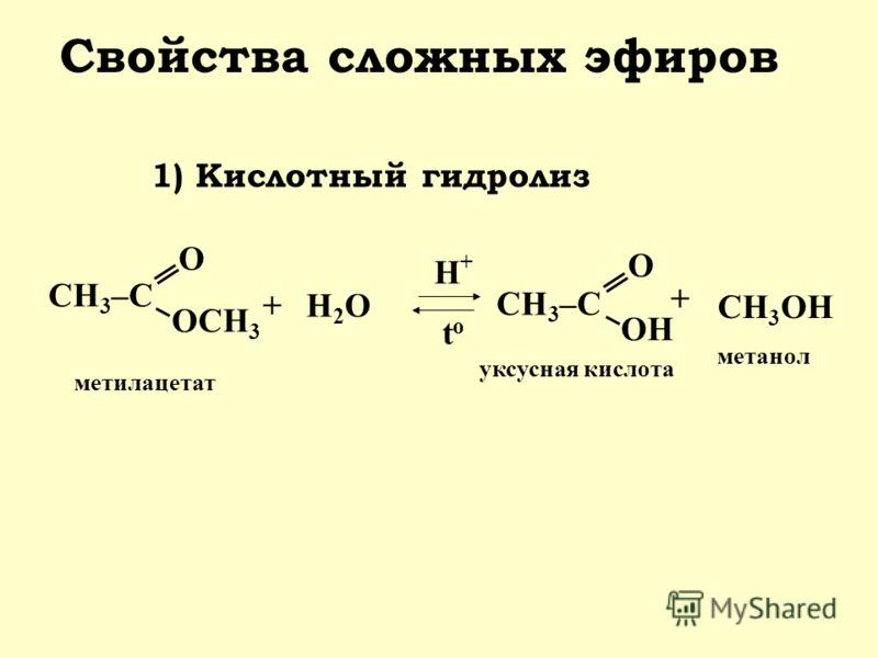 СН 3 –С О ОСН 3 Свойства сложных эфиров 1) Кислотный гидролиз +Н2ОН2О Н+Н+ t o СН 3 –С О OНOН + СН 3 ОН метилацетат уксусная кислота метанол