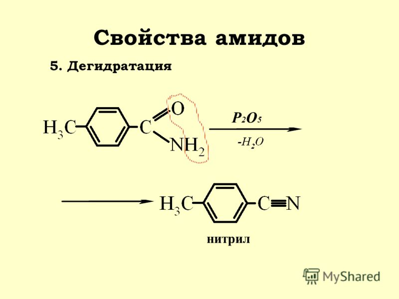 Свойства амидов 5. Дегидратация нитрил P2O5P2O5