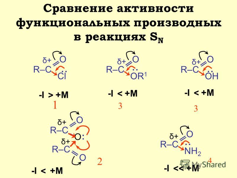 Сравнение активности функциональных производных в реакциях S N R–С О Cl δ+δ+ R–С О OR 1 δ+δ+ R–С О O О δ+δ+ δ+δ+ О NH 2 δ+δ+ δ+δ+ R–С О ОН -I-I+M > : : : : : -I-I < -I-I < -I-I < -I-I