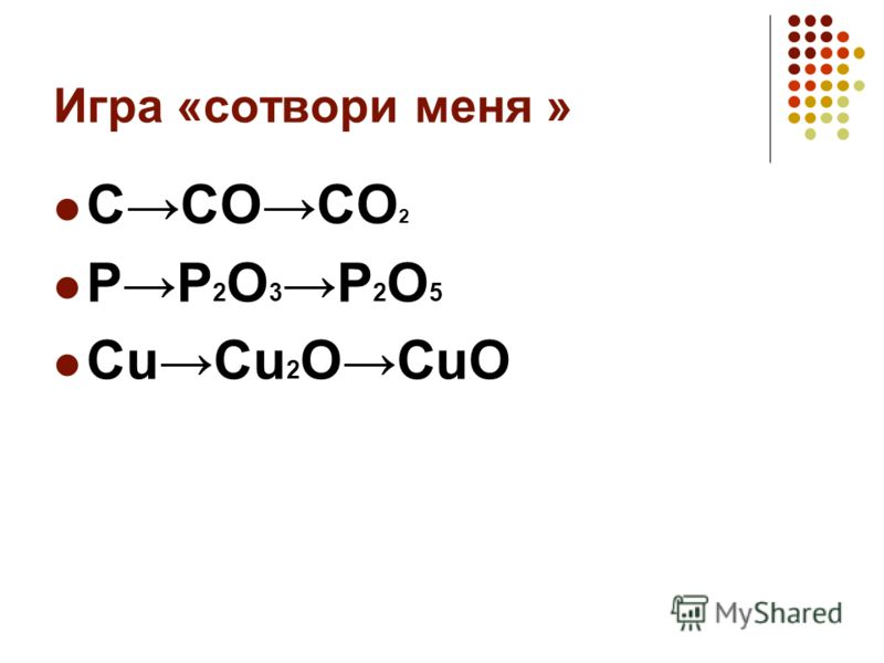 Игра «сотвори меня » CCOCO 2 PP 2 O 3 P 2 O 5 CuCu 2 OCuO