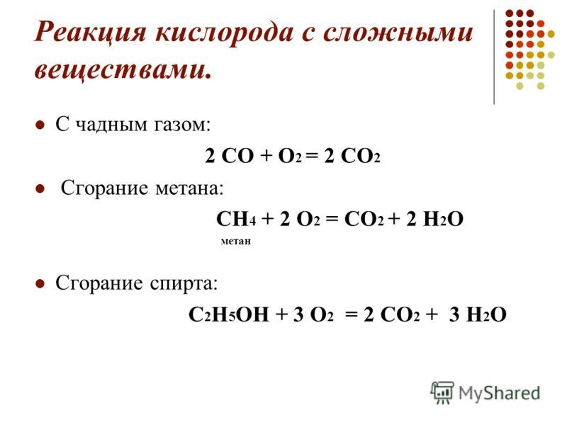 Реакция кислорода с сложными веществами. С чадным газом: 2 СО + О 2 = 2 СО 2 Сгорание метана: СН 4 + 2 О 2 = СО 2 + 2 Н 2 О метан Сгорание спирта: С 2 Н 5 ОН + 3 О 2 = 2 СО 2 + 3 Н 2 О