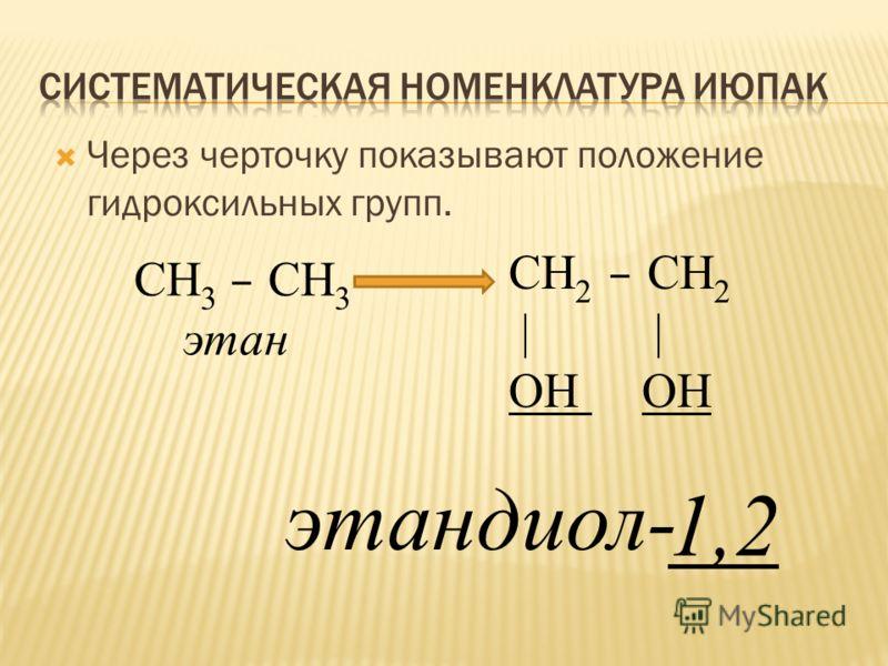 Через черточку показывают положение гидроксильных групп. СН 3 – СН 3 этан СН 2 – СН 2 | | ОН этандиол- 1,2