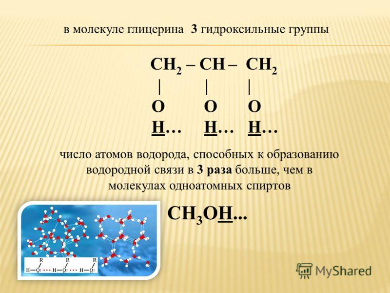СН 2 – СН – СН 2 | | | О О О Н… Н… Н… число атомов водорода, способных к образованию водородной связи в 3 раза больше, чем в молекулах одноатомных спиртов в молекуле глицерина 3 гидроксильные группы СН 3 ОН...
