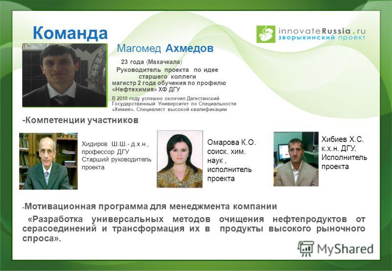 Команда Магомед Ахмедов 23 года (Махачкала) Руководитель проекта по идее старшего коллеги магистр 2 года обучения по профилю «Нефтехимия» ХФ ДГУ В 2010 году успешно окончил Дагестанский Государственный Университет по Специальности «Химия». Специалист