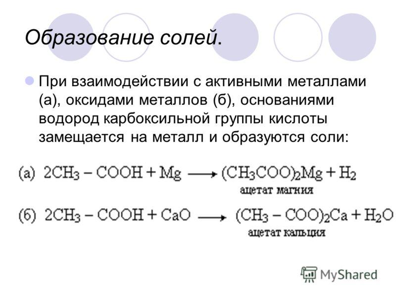 Образование солей. При взаимодействии с активными металлами (а), оксидами металлов (б), основаниями водород карбоксильной группы кислоты замещается на металл и образуются соли: