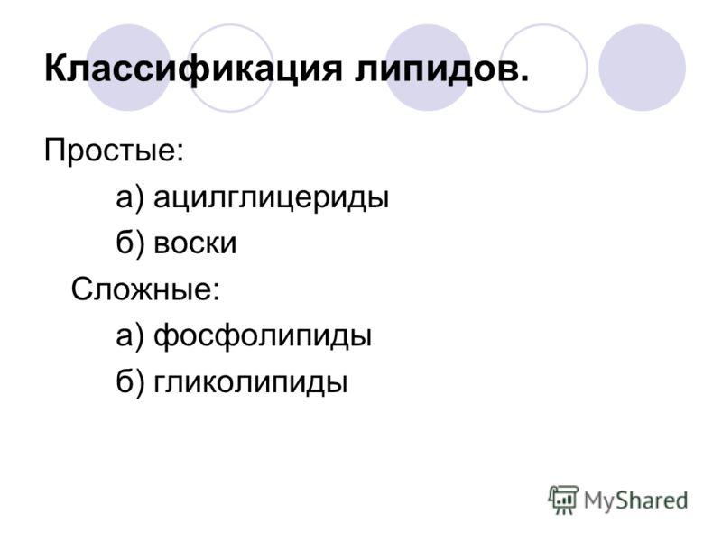 Классификация липидов. Простые: а) ацилглицериды б) воски Сложные: а) фосфолипиды б) гликолипиды