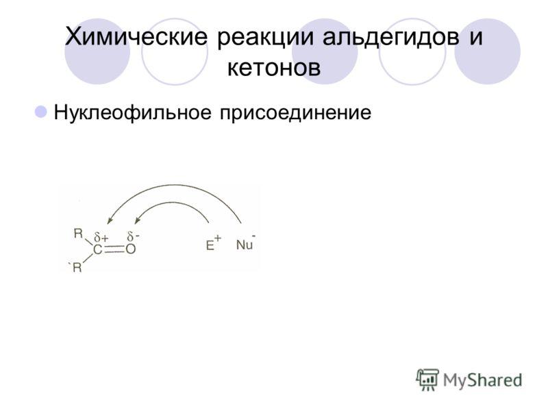 Химические реакции альдегидов и кетонов Нуклеофильное присоединение