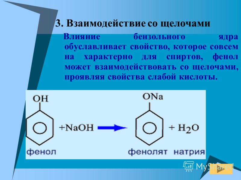 3. Взаимодействие со щелочами Влияние бензольного ядра обуславливает свойство, которое совсем на характерно для спиртов, фенол может взаимодействовать со щелочами, проявляя свойства слабой кислоты.