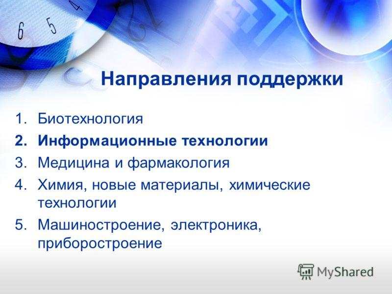 Направления поддержки 1.Биотехнология 2.Информационные технологии 3.Медицина и фармакология 4.Химия, новые материалы, химические технологии 5.Машиностроение, электроника, приборостроение