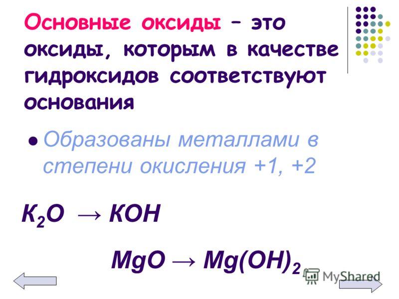 Основные оксиды – это оксиды, которым в качестве гидроксидов соответствуют основания Образованы металлами в степени окисления +1, +2 К 2 О КОН MgO Mg(OH) 2