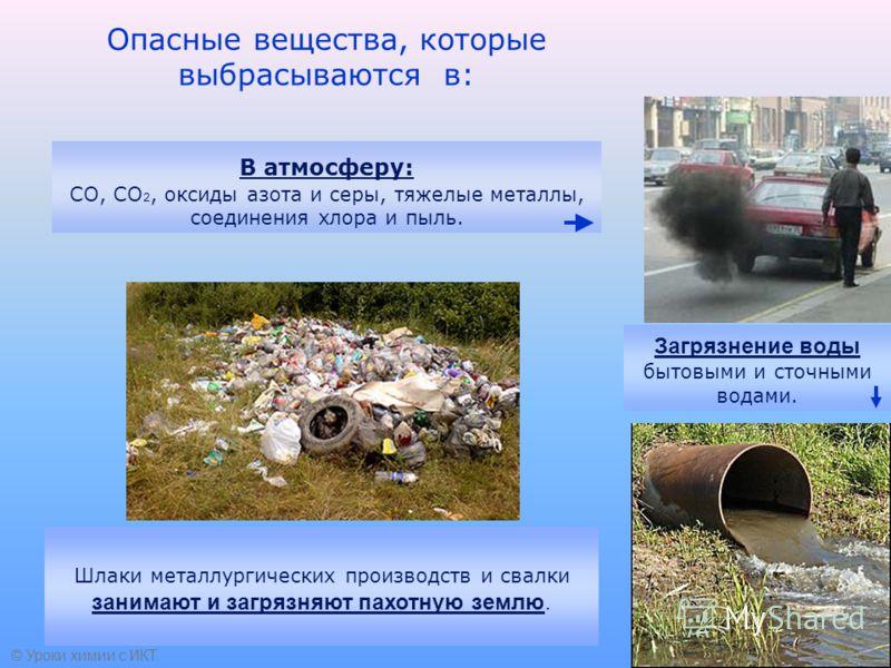Опасные вещества, которые выбрасываются в: Загрязнение воды бытовыми и сточными водами. Шлаки металлургических производств и свалки занимают и загрязняют пахотную землю. В атмосферу: СО, СО 2, оксиды азота и серы, тяжелые металлы, соединения хлора и