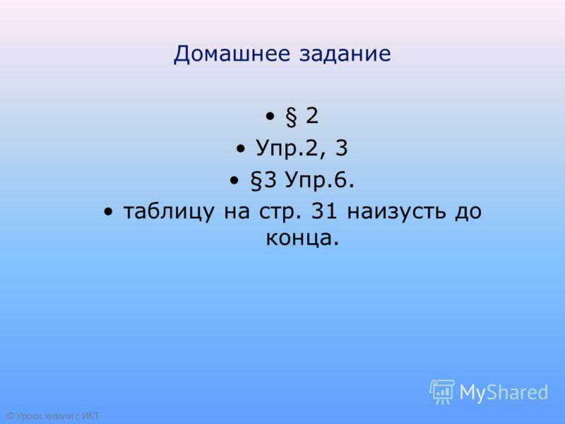 Домашнее задание § 2 Упр.2, 3 §3 Упр.6. таблицу на стр. 31 наизусть до конца. © Уроки химии с ИКТ.