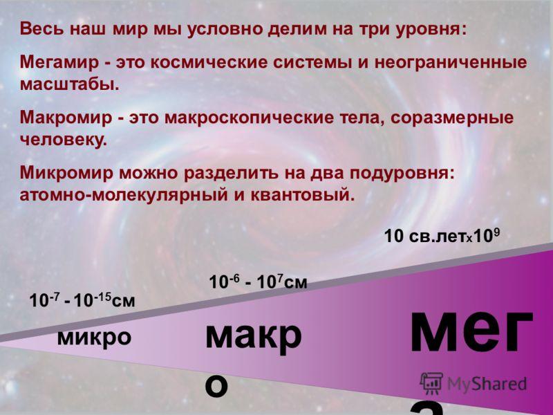 микро макр о мег а 10 -7 - 10 -15 см 10 -6 - 10 7 см Весь наш мир мы условно делим на три уровня: Мегамир - это космические системы и неограниченные масштабы. Макромир - это макроскопические тела, соразмерные человеку. Микромир можно разделить на два