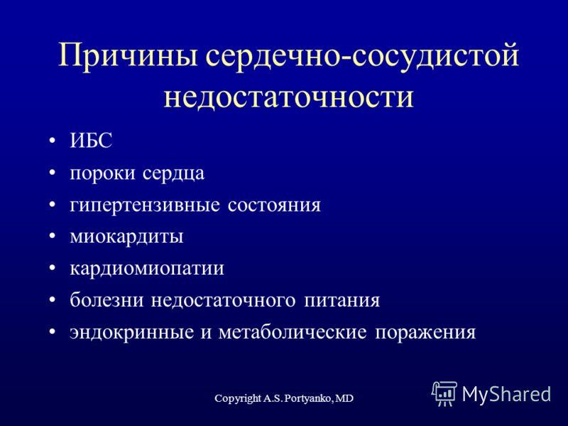 Copyright A.S. Portyanko, MD Причины сердечно-сосудистой недостаточности ИБС пороки сердца гипертензивные состояния миокардиты кардиомиопатии болезни недостаточного питания эндокринные и метаболические поражения