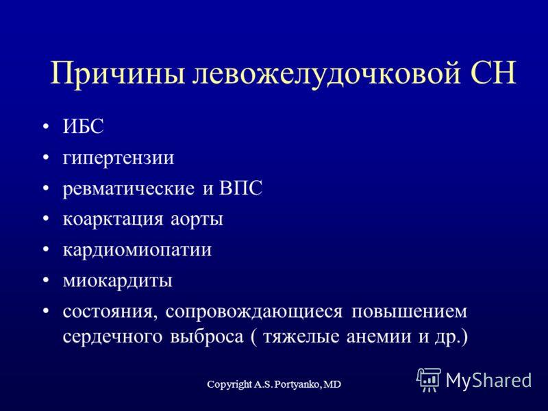 Copyright A.S. Portyanko, MD Причины левожелудочковой СН ИБС гипертензии ревматические и ВПС коарктация аорты кардиомиопатии миокардиты состояния, сопровождающиеся повышением сердечного выброса ( тяжелые анемии и др.)