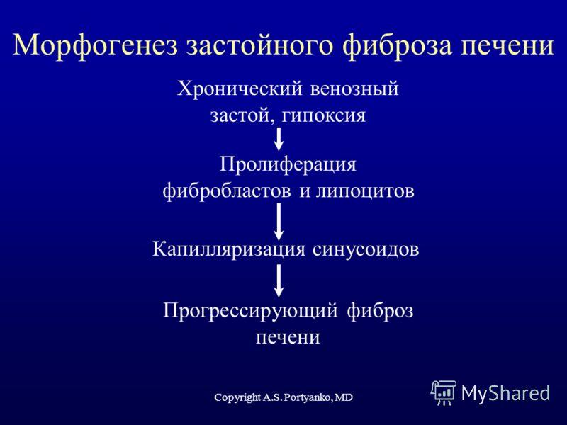 Морфогенез застойного фиброза печени Хронический венозный застой, гипоксия Пролиферация фибробластов и липоцитов Капилляризация синусоидов Прогрессирующий фиброз печени