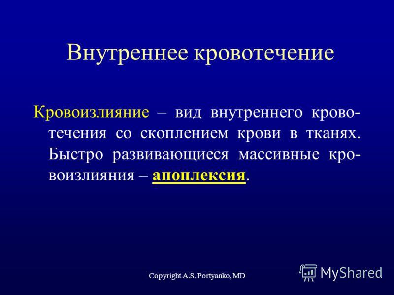 Copyright A.S. Portyanko, MD Внутреннее кровотечение Кровоизлияние – вид внутреннего крово- течения со скоплением крови в тканях. Быстро развивающиеся массивные кро- воизлияния – апоплексия.