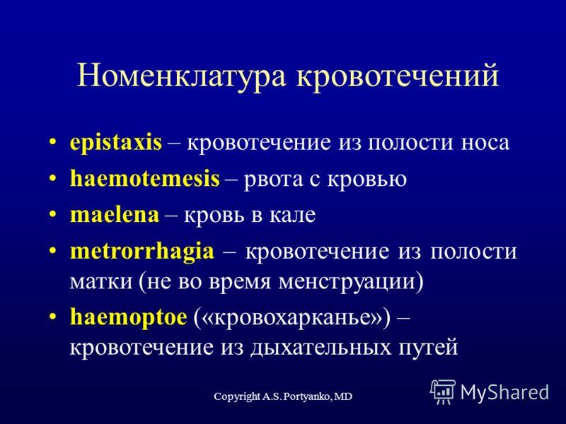 Copyright A.S. Portyanko, MD Номенклатура кровотечений epistaxis – кровотечение из полости носа haemotemesis – рвота с кровью maelena – кровь в кале metrorrhagia – кровотечение из полости матки (не во время менструации) haemoptoe («кровохарканье») –