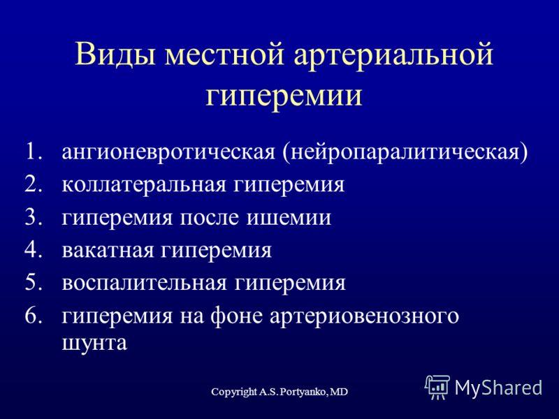 Copyright A.S. Portyanko, MD Виды местной артериальной гиперемии 1.ангионевротическая (нейропаралитическая) 2.коллатеральная гиперемия 3.гиперемия после ишемии 4.вакатная гиперемия 5.воспалительная гиперемия 6.гиперемия на фоне артериовенозного шунта