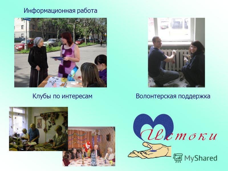 Клубы по интересам Информационная работа Волонтерская поддержка