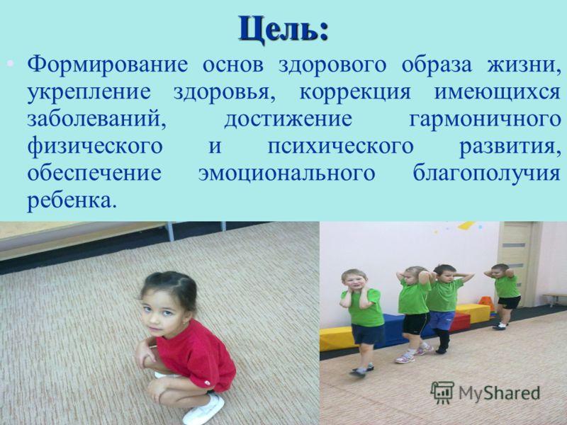 Цель: 2 Формирование основ здорового образа жизни, укрепление здоровья, коррекция имеющихся заболеваний, достижение гармоничного физического и психического развития, обеспечение эмоционального благополучия ребенка.