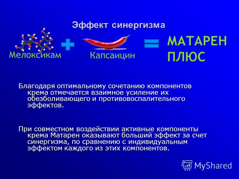 Эффект синергизма Благодаря оптимальному сочетанию компонентов крема отмечается взаимное усиление их обезболивающего и противовоспалительного эффектов. При совместном воздействии активные компоненты крема Матарен оказывают больший эффект за счет сине