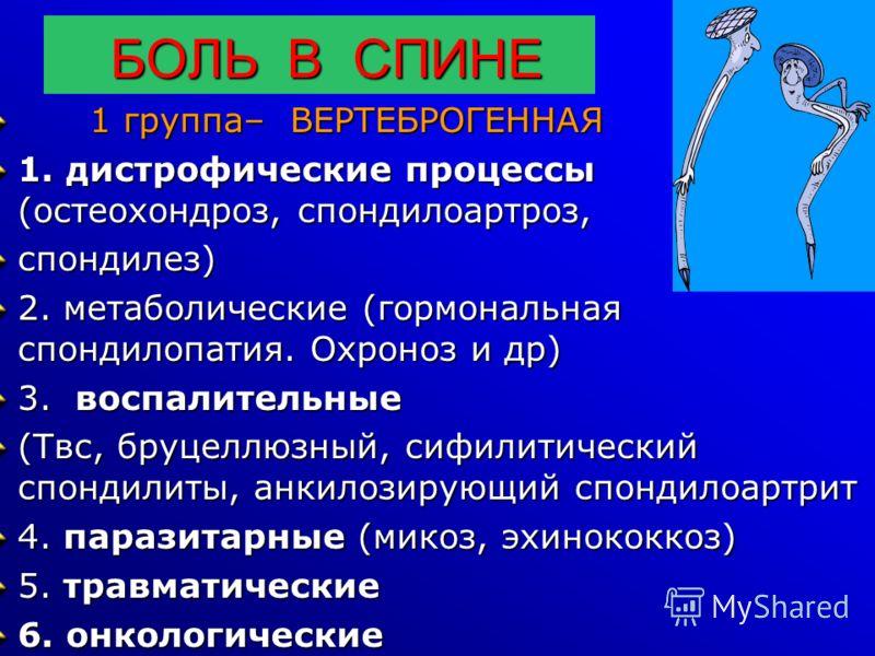 БОЛЬ В СПИНЕ БОЛЬ В СПИНЕ 1 группа– ВЕРТЕБРОГЕННАЯ 1 группа– ВЕРТЕБРОГЕННАЯ 1. дистрофические процессы (остеохондроз, спондилоартроз, спондилез) 2. метаболические (гормональная спондилопатия. Охроноз и др) 3. воспалительные (Твс, бруцеллюзный, сифили
