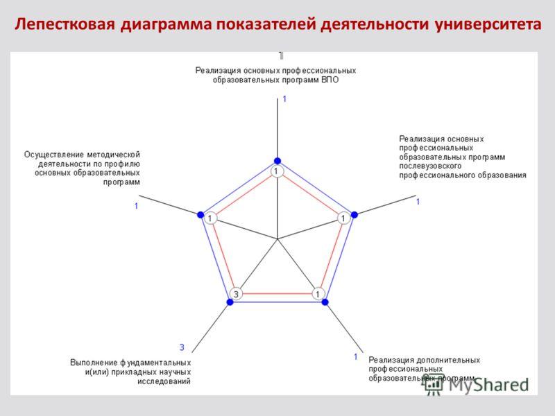Лепестковая диаграмма показателей деятельности университета