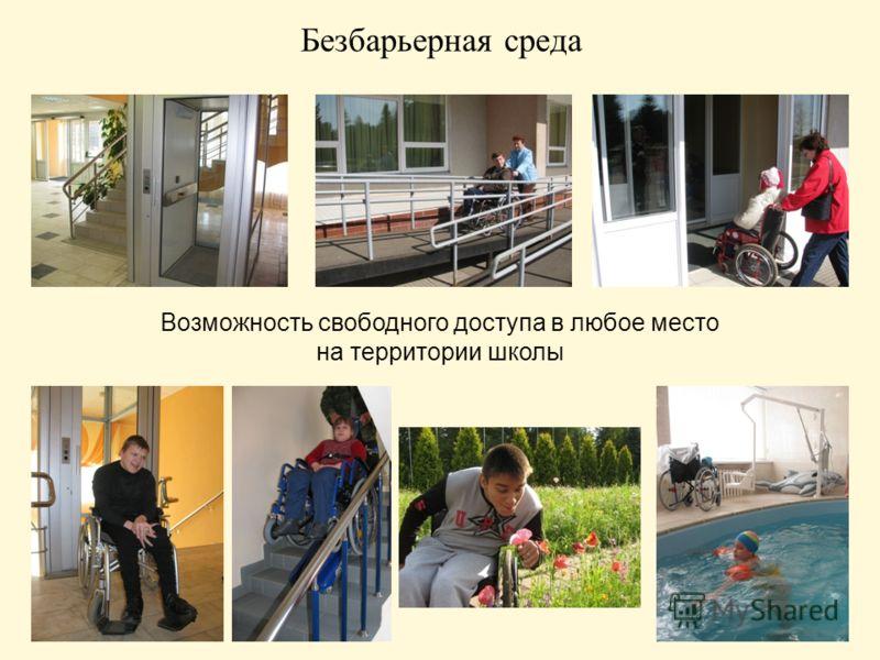 Безбарьерная среда Возможность свободного доступа в любое место на территории школы