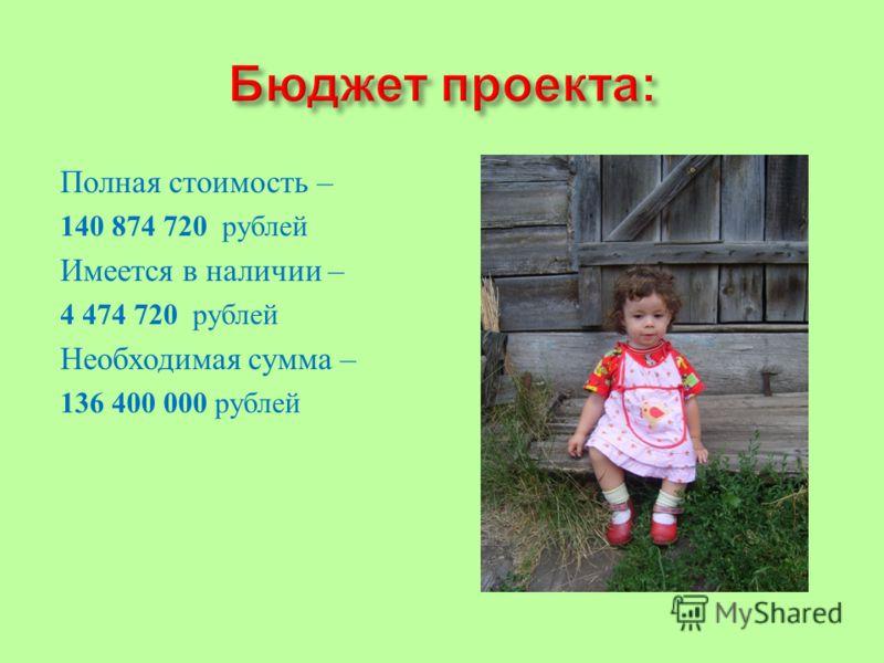 Полная стоимость – 140 874 720 рублей Имеется в наличии – 4 474 720 рублей Необходимая сумма – 136 400 000 рублей