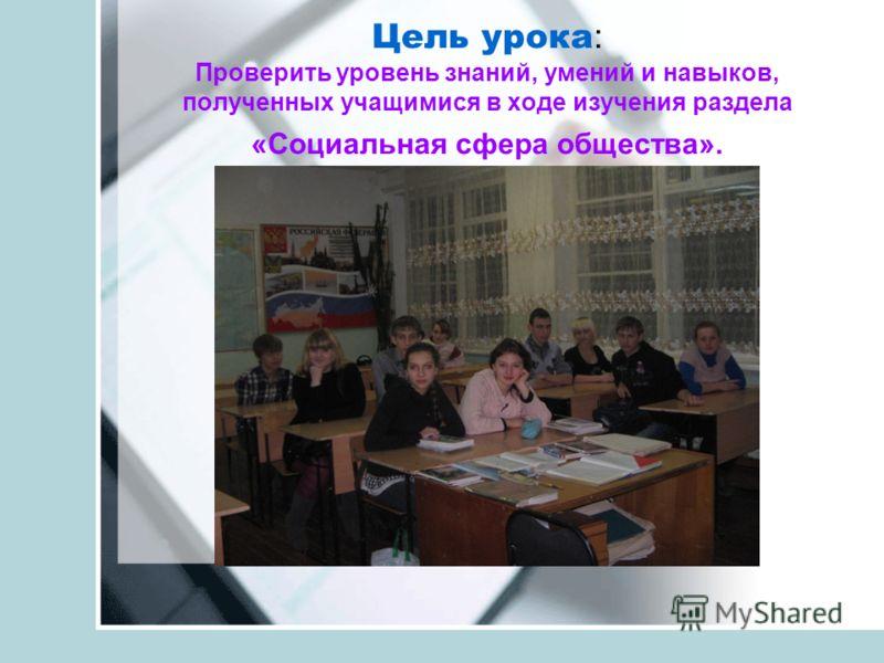Цель урока : Проверить уровень знаний, умений и навыков, полученных учащимися в ходе изучения раздела «Социальная сфера общества».