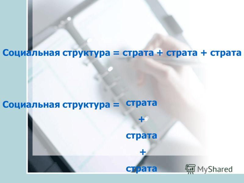 Социальная структура = страта + страта + страта страта + страта + страта