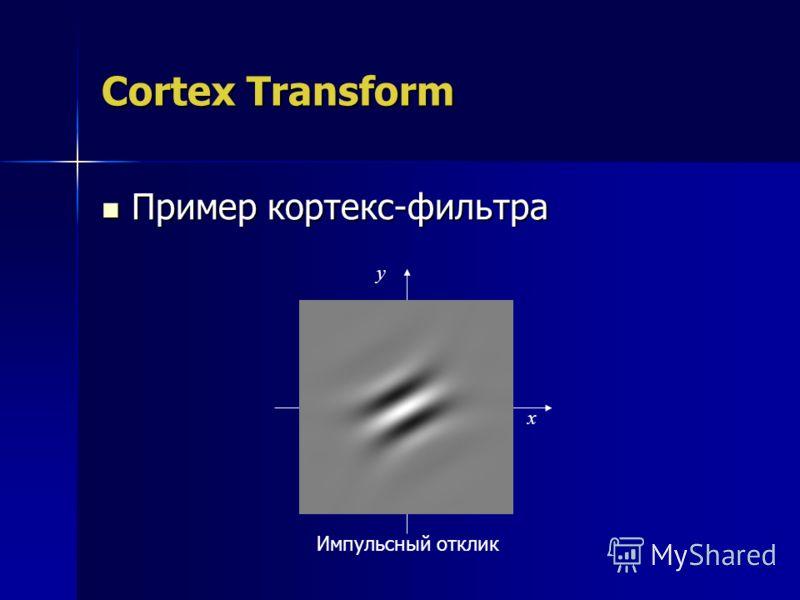 Cortex Transform Пример кортекс-фильтра Пример кортекс-фильтра y Импульсный отклик x