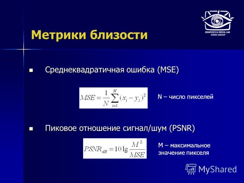 Метрики близости Среднеквадратичная ошибка (MSE) Среднеквадратичная ошибка (MSE) Пиковое отношение сигнал/шум (PSNR) Пиковое отношение сигнал/шум (PSNR) N – число пикселей M – максимальное значение пикселя