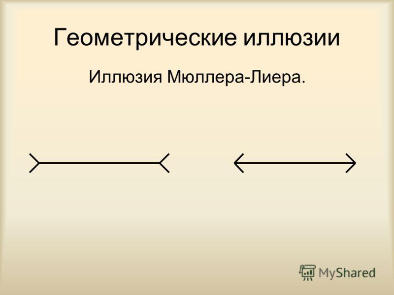 Геометрические иллюзии Иллюзия Мюллера-Лиера.