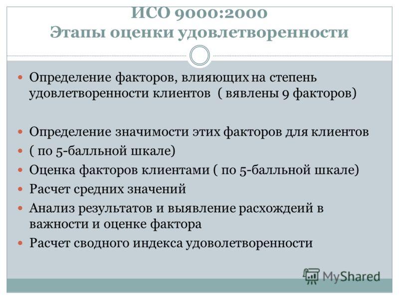 ИСО 9000:2000 Этапы оценки удовлетворенности Определение факторов, влияющих на степень удовлетворенности клиентов ( вявлены 9 факторов) Определение значимости этих факторов для клиентов ( по 5-балльной шкале) Оценка факторов клиентами ( по 5-балльной