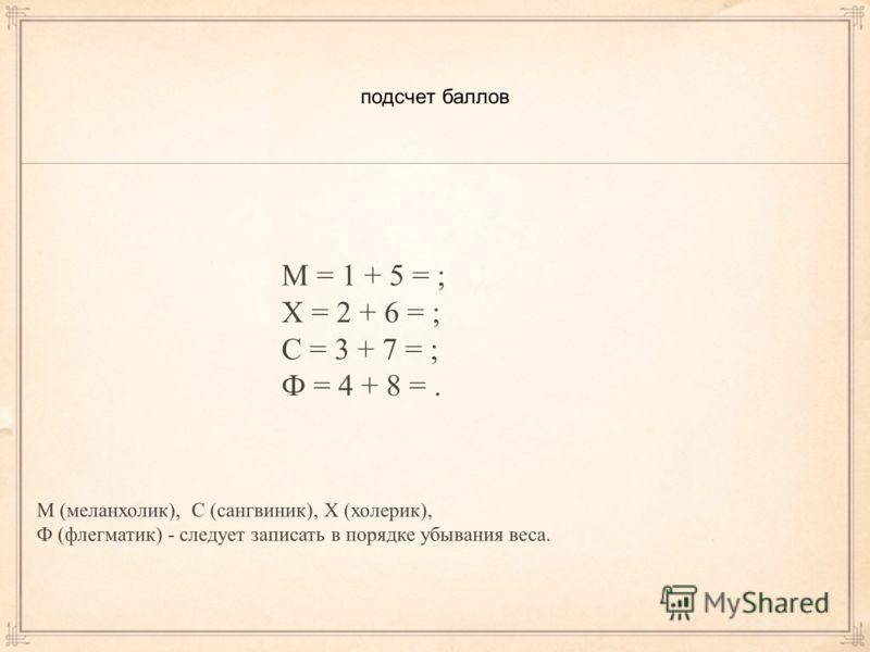 подсчет баллов М = 1 + 5 = ; Х = 2 + 6 = ; С = 3 + 7 = ; Ф = 4 + 8 =. М (меланхолик), С (сангвиник), Х (холерик), Ф (флегматик) - следует записать в порядке убывания веса.