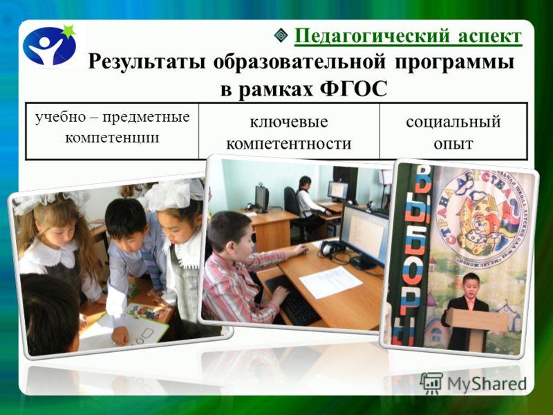 Результаты образовательной программы в рамках ФГОС Педагогический аспект учебно – предметные компетенции ключевые компетентности социальный опыт