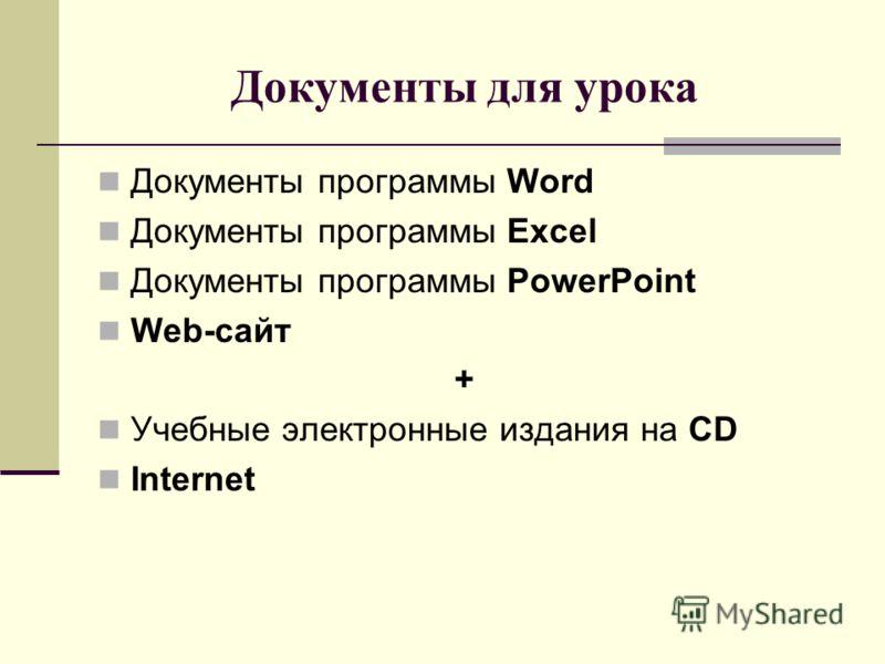 Документы для урока Документы программы Word Документы программы Excel Документы программы PowerPoint Web-сайт + Учебные электронные издания на CD Internet