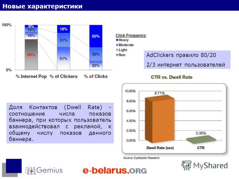Новые характеристики AdClickers правило 80/20 2/3 интернет пользователей Доля Контактов (Dwell Rate) - соотношение числа показов баннера, при которых пользователь взаимодействовал с рекламой, к общему числу показов данного баннера.
