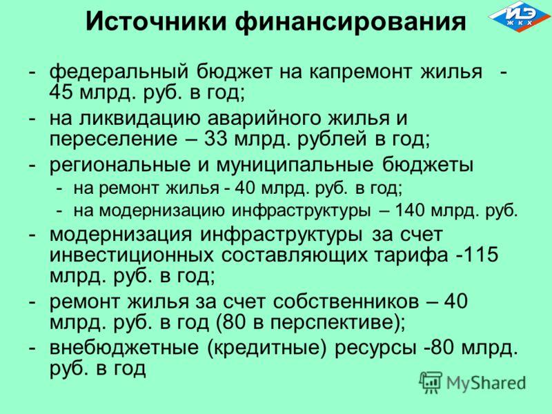 Источники финансирования -федеральный бюджет на капремонт жилья - 45 млрд. руб. в год; -на ликвидацию аварийного жилья и переселение – 33 млрд. рублей в год; -региональные и муниципальные бюджеты -на ремонт жилья - 40 млрд. руб. в год; -на модернизац