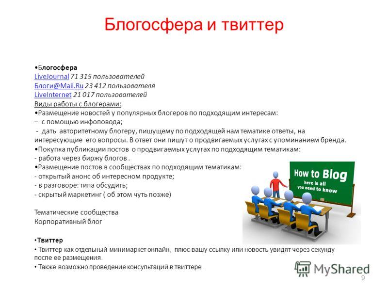 9 Блогосфера LiveJournalLiveJournal 71 315 пользователей Блоги@Mail.RuБлоги@Mail.Ru 23 412 пользователя LiveInternetLiveInternet 21 017 пользователей Виды работы с блогерами: Размещение новостей у популярных блогеров по подходящим интересам: – с помо