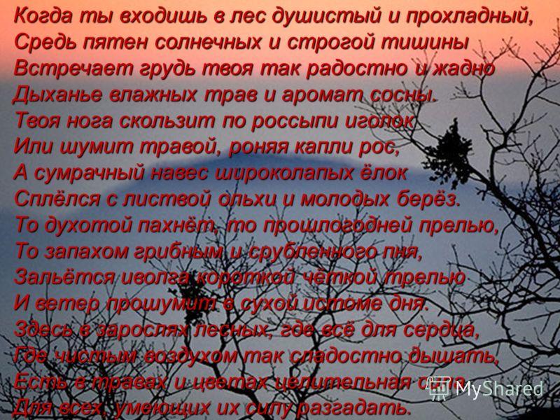 Когда ты входишь в лес душистый и прохладный, Средь пятен солнечных и строгой тишины Встречает грудь твоя так радостно и жадно Дыханье влажных трав и аромат сосны. Твоя нога скользит по россыпи иголок Или шумит травой, роняя капли рос, А сумрачный на