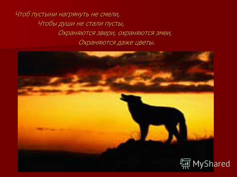 Чтоб пустыни нагрянуть не смели, Чтобы души не стали пусты, Охраняются звери, охраняются змеи, Охраняются даже цветы.
