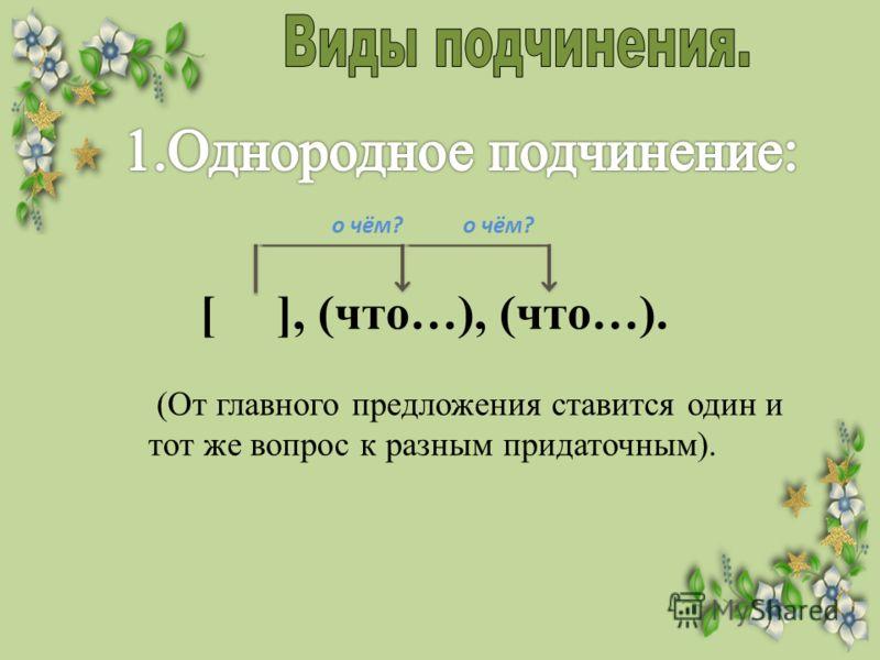 [ ], (что…), (что…). (От главного предложения ставится один и тот же вопрос к разным придаточным). о чём?
