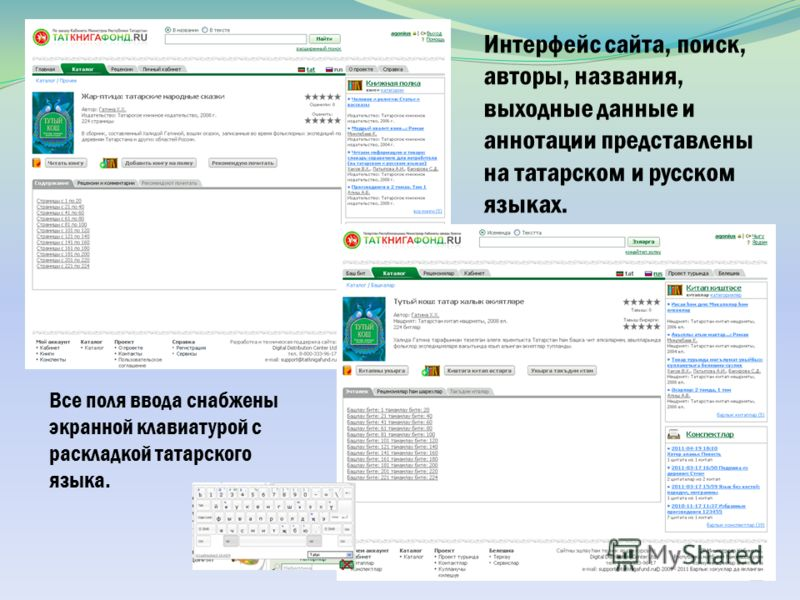Интерфейс сайта, поиск, авторы, названия, выходные данные и аннотации представлены на татарском и русском языках. Все поля ввода снабжены экранной клавиатурой с раскладкой татарского языка.