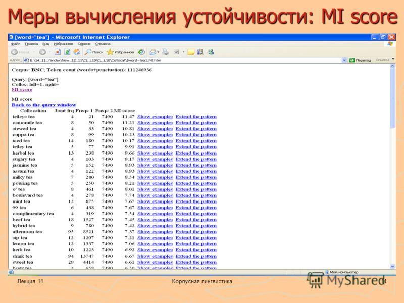 Лекция 11Корпусная лингвистика14 Меры вычисления устойчивости: MI score
