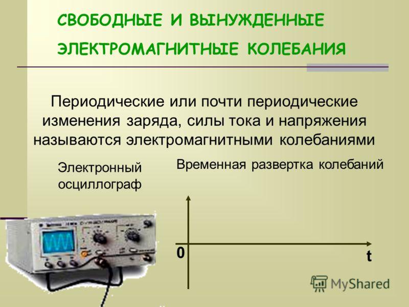СВОБОДНЫЕ И ВЫНУЖДЕННЫЕ ЭЛЕКТРОМАГНИТНЫЕ КОЛЕБАНИЯ Периодические или почти периодические изменения заряда, силы тока и напряжения называются электромагнитными колебаниями Электронный осциллограф Временная развертка колебаний t 0