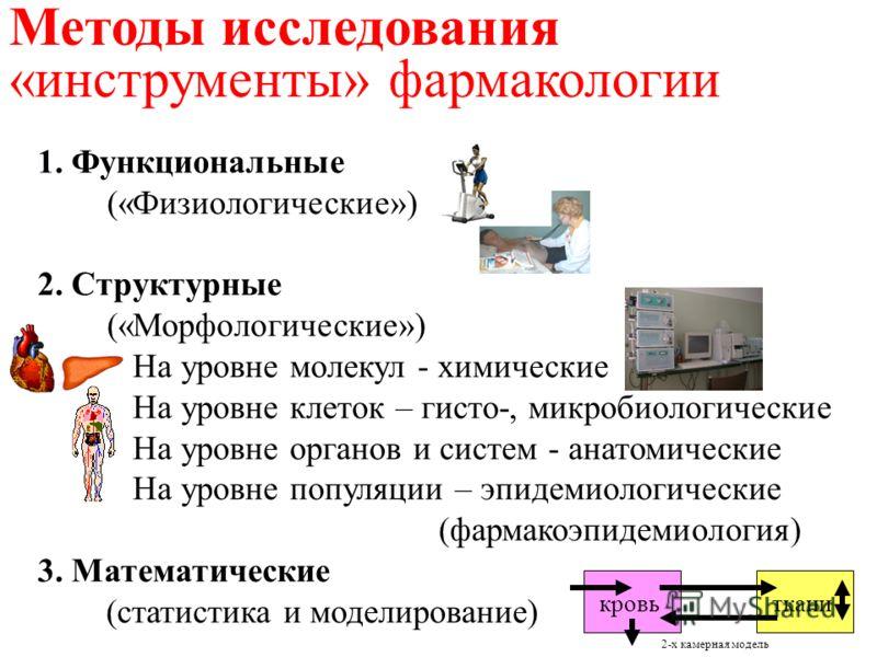 1. Функциональные («Физиологические») 2. Структурные («Морфологические») На уровне молекул - химические На уровне клеток – гисто-, микробиологические На уровне органов и систем - анатомические На уровне популяции – эпидемиологические (фармакоэпидемио