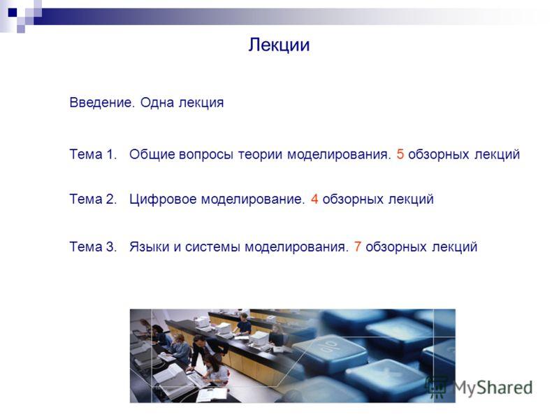 Лекции Введение. Одна лекция Тема 1. Общие вопросы теории моделирования. 5 обзорных лекций Тема 2. Цифровое моделирование. 4 обзорных лекций Тема 3. Языки и системы моделирования. 7 обзорных лекций